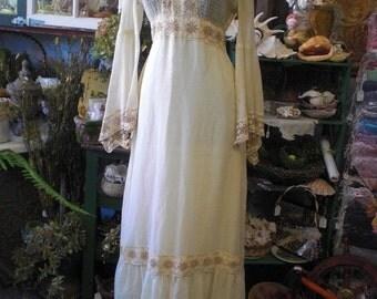 Off White Gunne Sax Style Prairie Dress