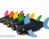 Shark Bag by MinneBites - Choose your Color / Handmade Shark Pencil Case - Kids Rainbow Fish Toy Bag - Shark Birthday Party - Personalized