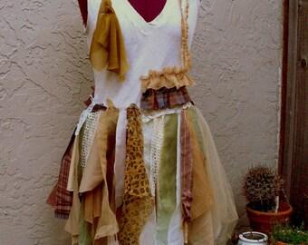 Funky Tattered Dress.  Pixie Gypsy Tribal