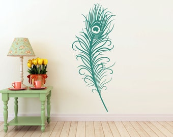 LARGE peacock feather vinyl DECAL-wall Art, sticker art, room, home and business decor