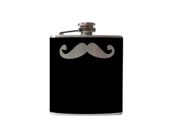 Mustache 01 Flask- alcohol, liquor, booze, wedding, bridal party, hip pocket- Personalized Custom - YOU pick COLOR, SIZE