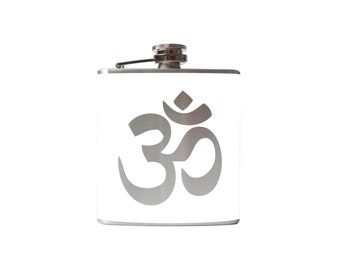 Om, Ohm FLASK- alcohol, liquor, booze, wedding, bridal party, hip pocket- Personalized Custom - YOU pick COLOR