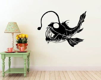 Angler Fish vinyl Wall DECAL- interior design, sticker art, room, home and business decor