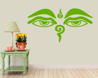 Wisdom Eyes Buddha, Nepal, India  vinyl Wall DECAL-  shiva interior design, sticker art, room, home and business