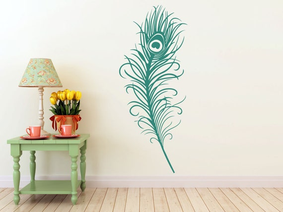 large peacock feather vinyl decal wall art sticker by eyvaldecal. Black Bedroom Furniture Sets. Home Design Ideas