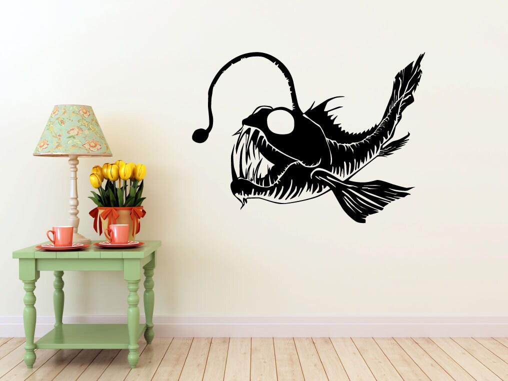 Angler Fish vinyl Wall DECAL interior design sticker art