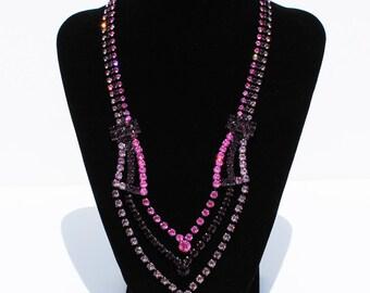 Czech RepublicThree Tier Purple Rhinestone Necklace
