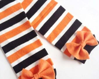 Halloween Baby Leg Warmers Black, Orange and White Striped