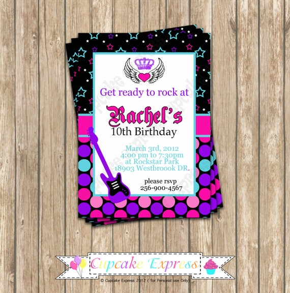 DIY Rockstar Girl Birthday  PRINTABLE Invitation 1 Party pink black purple teal guitar rock star