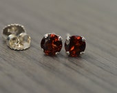 Garnet Stud Earrings, round with 2ct tw red Garnet