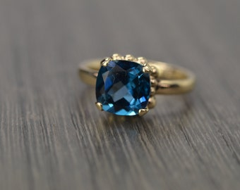 London Blue Topaz Ring, 2.5ct silver gold prong cushion solitaire - Darcy Ring