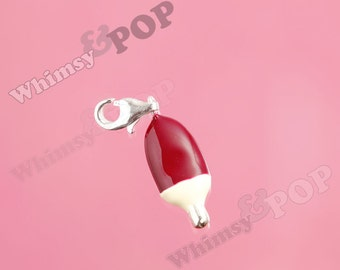 1 - 3D Silver Plated Chocolate Brown Fudge Bar Ice Cream Bar Charm, Popsicle Charm, 9mm x 22mm (4-5E)