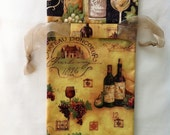 Wine Gift Bag, Recyclable, Coordinated Golden and Wine colors, Wine themed - bottles, grapes, glasses, Chateau