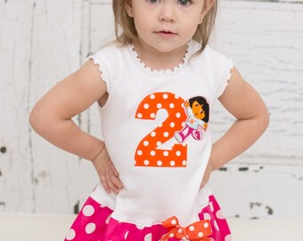 Custom Boutique Birthday Dress Birthday Outfit Girls Dresses Baby Dresses Kids Girls Clothing  Dora Available in 0-3 months through Size 6/8