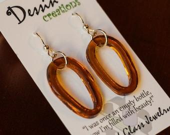 SLUMPED Glass Bottle Earrings, Drop Earrings, Amber Cognac Brown Earrings, Sterling Silver, For Her, Dessin Creations