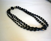 Vintage Black Multi Strand Necklace. Medium Length. Pewter.
