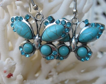 Fluttering Turquoise and Silver Butterfly Earrings