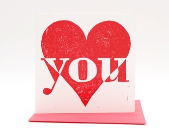 Letterpress card I Love You, Valentine card, hand printed woodcut