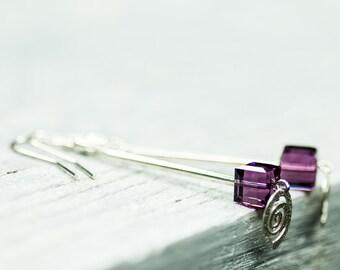 Long Crystal Earrings, Square Beads Swarovski Earrings, Purple Earrings, Dangle Earrings, Summer Jewelry, Sterling Silver Earrings, Earrings