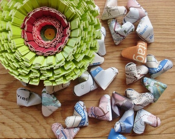 Virginia is for Lovers, Upcycled VA Map Origami Hearts, set of 24. Upcycled Map, Table Scatter.