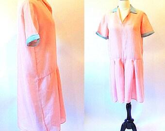 Vintage 30s Dress, 1930 Day Dress, Sheer Pink Dress, Drop Waist Dress