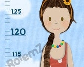 Personalized Girls Height Chart in Feet & Inches or Metric