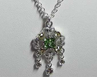 Swarovski Hearts Necklace, Bridesmaid Jewelry, Green Charm Necklace, Mom Sister Grandmother Jewelry Gift, Silver Necklace