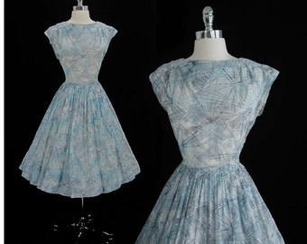 Vintage 50's Sheer Atomic Blue Starburst Full Swing Skirt Party Dress M