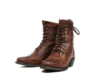 7 1/2 C | Brown Lace Up Ankle Boots Square Toe Western Grannies By Silver Rebel