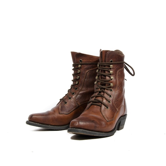 Brown Lace Up Ankle Boots Women - Yu Boots