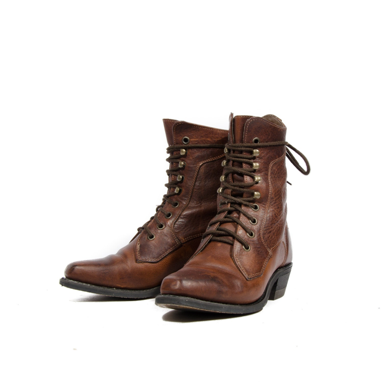 Brown Lace Up Ankle Boots Square Toe Western Grannies By
