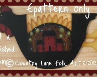EPATTERN,  #0013 Sunflower chicken, painting pattern,  paint your own, digital download, chicken art, chicken painting, chicken pattern,