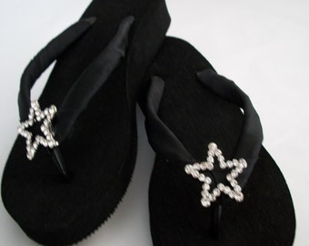 Black Wedged Flip Flops w/Star Shape Rhinestone Slider