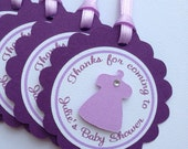 Baby Shower Favor Tags - Baby Girl - Little Dress and Rhinestone - Any color combination