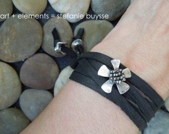 """ARTisan Made """"Jeanne's Daisy"""" Wrap Bracelet - Recycled Fine Silver - OOAK"""