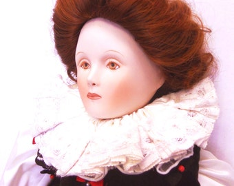 "Sale!!! Just Reduced! Queen Elizabeth I porcelain doll  Franklin Mint Collection Heirloom Doll 19"" Queens of England Series anglophile"