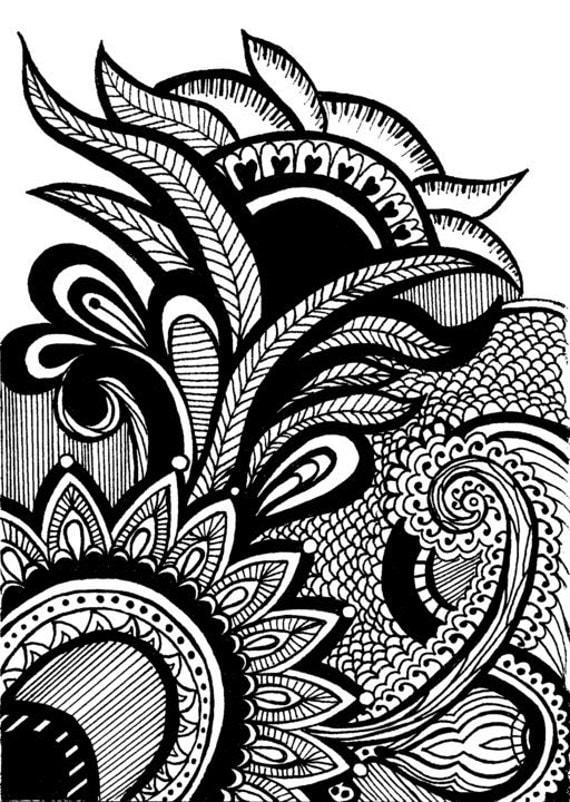 Mehndi Design Line Art : Henna mehndi drawing print original design by