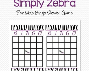Zebra Print Bridal Shower Bingo Cards, Shower Game, Party Supplies, Black and White, Purple -- Printable File, Instant Download