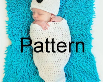 Crochet Pattern Newborn Ghost Hat and Cocoon