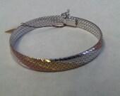 Vintage Tri Color Sterling Silver Vermeil Flat Bracelet Bangle