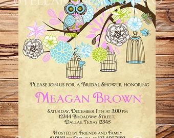 Owls Vintage Birdcage Invitation,Vintage Bridal Shower Invitation,Wedding Shower, Birdcages, LIght Blue, Purple, Green, Teal, 5233