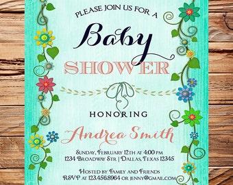 Baby shower invitation, floral baby shower Invitation, boy, girl, baby Shower Invite, teal, floral, pink, vintage, 1117