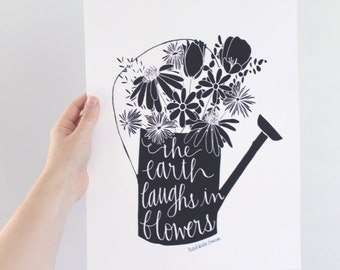 INSTANT DOWNLOAD - The Earth Laughs In Flowers - Ralph Waldo Emerson Quote - 8x10 Illustrated Print by Mandy England