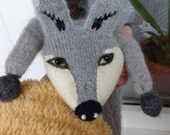 Faux Fox Scarf, Grey with White Embroidered Cheeks, Point Snout and Slanting Eyes - Medium (made to order)