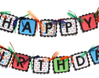 Toy Cars Themed Happy Birthday Party Banner