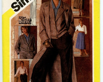 1980s Simplicity 6576 Vintage Pattern Wardrobe Pattern Coat, Jacket, Blouse, Skirt and Trousers Bust 34 UNCUT