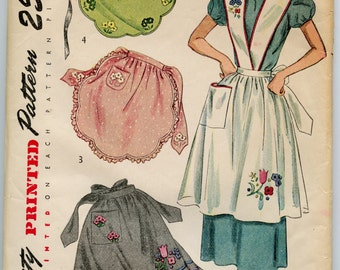 1940s Apron Pattern Simplicity 2560 Vintage Sewing Pattern Cross Front and Back Bib Top Apron Scalloped Half Apron Bust 34-36