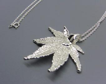 Sterling Silver Japanese Maple Leaf Necklace
