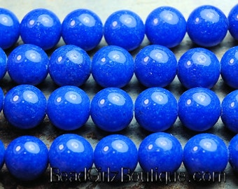 10mm Lapis Blue Mountain Jade Round Gemstone Beads - 15 Inch Strand