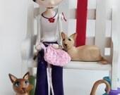 Custom Art Doll - OOAK Art Doll - Girl Knitting - Cat Art Dolls